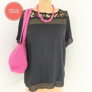 C.O.C. Black Crochet Trim Top Size 2X 2 for $19.99
